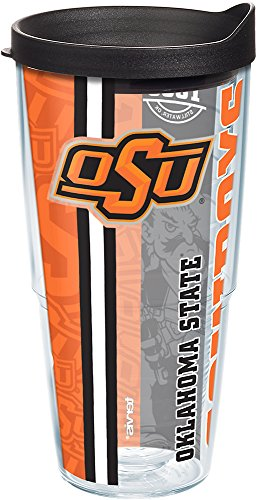 (Tervis 1219907 Oklahoma State Cowboys College Pride Tumbler with Wrap and Black Lid 24oz, Clear)