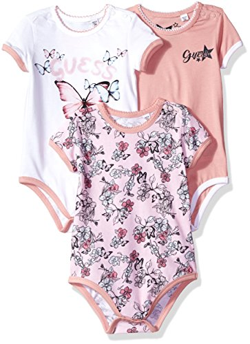 GUESS Baby Girls' 3 Piece Set Bodysuit, Biarritz Rose Combo, 0/3M