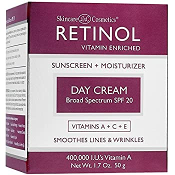 Retinol Day Cream Broad Spectrum SPF 20 – Protects Against Harmful Effects of UVA & UVB Rays – Luxurious Cream Moisturizes & Reduces Look of Fine Lines ...