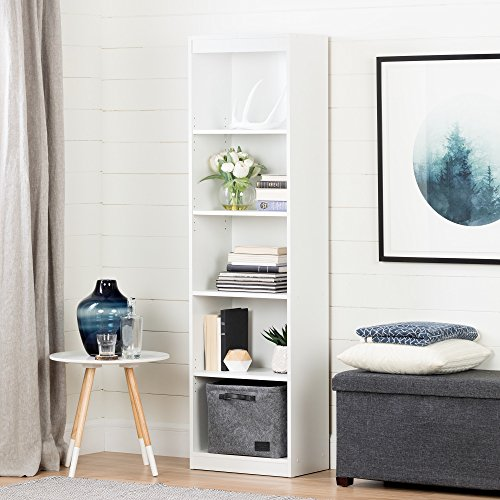 - Smart Basics 5 Shelf Narrow Bookcase With Adjustable Shelves, Home Office, Family Room, Basement Or Even The Wardrobe, Fixing Bracket To Secure It To A Wall, Solid Wood/Laminate, White Finish