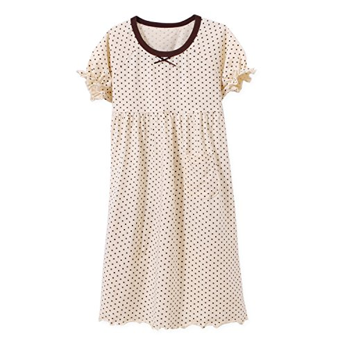(BLOMDE Girls' Princess Nightgowns Puff Sleeve Sleepwear Cotton Gowns Yellow for L(6))