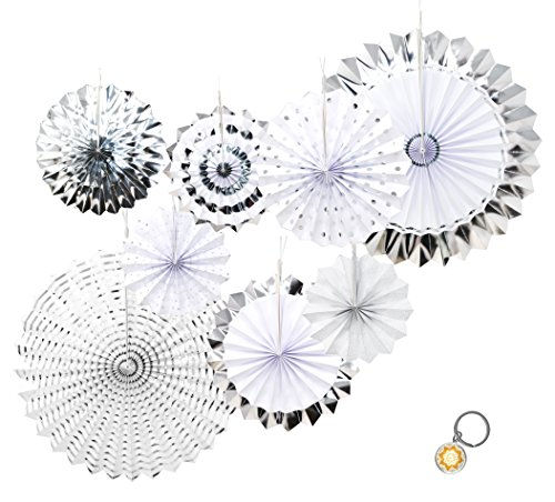 Mandala Crafts Hanging Circle Paper Fan Set for Party, Event, Birthday, Wedding, Tree, Wall, Backdrop Decoration (8, Silver -