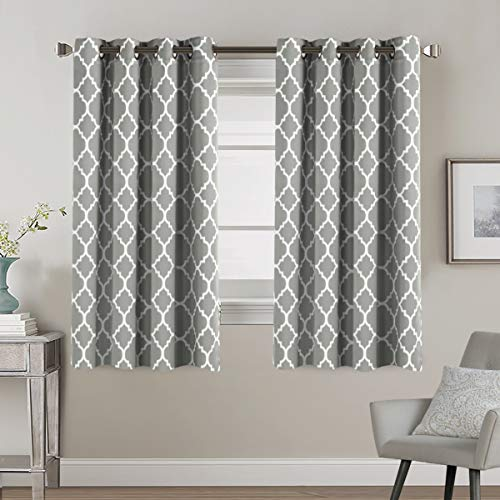 Window Treatment Panels Ultra Soft Printed Room Darkening Blackout Curtain Panels with Antique Grommet Top Kids Curtains for Bedroom, Moroccan Tile Quatrefoil Dove, 2 Panels, 52 by 63 Inch ()