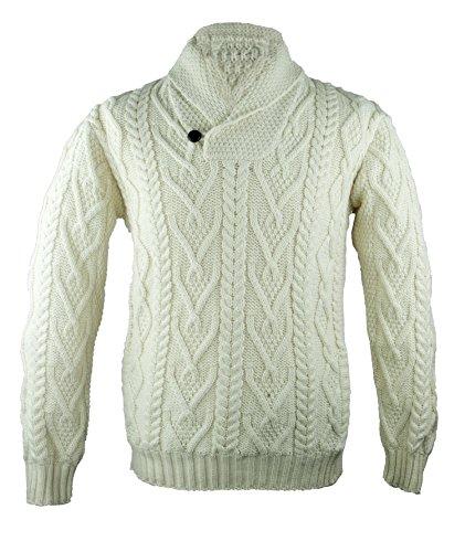 100-Irish-Merino-Wool-Shawl-Collar-Aran-Sweater