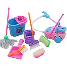 FLAMINGO_STORE 9 Pcs/lot House Cleaning Tool Mini Broom Mop Kids Girls Pretend Play Toy Kitchen Kit Dolls Accessories