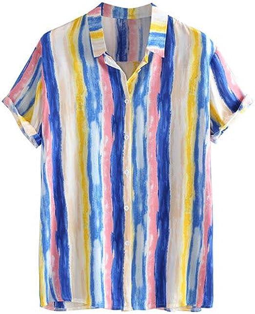 Alixyz Mens Fashion Short-Sleeved Striped Print Casual Shirt Shirt Summer New Lapel Short-Sleeved Shirt