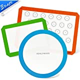 AshleyRiver Silicone Baking mats Liners 3 Pack Standard half size, quarter & round sheets Reusable, Soft, Non-Stick, Non-Toxic Bake Pans & Rolling - Macaroon/Pastry/Pie/Cookie/Pizza Making