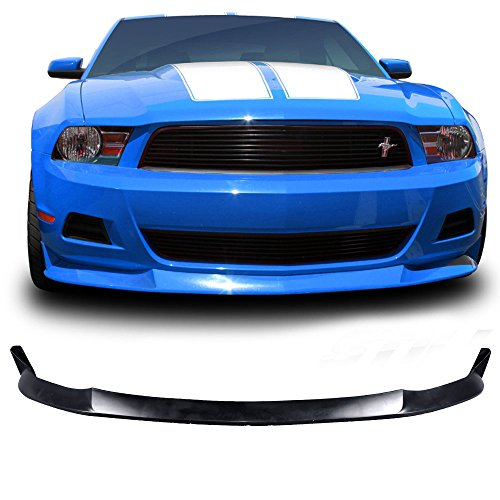 Front Bumper Lip Fits 2010-2012 Ford Mustang V6 | S Style PU Black Front Lip Spoiler Splitter by IKON MOTORSPORTS | 2011