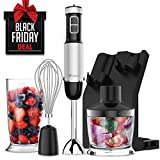 XProject 800W 4-in-1 Hand, Powerful Immersion Blender with 6 Speed Control,500ml Chopper,Whisk,Beaker 700ML,Storage Stand for Kicthen, HB-2075, Black For Sale