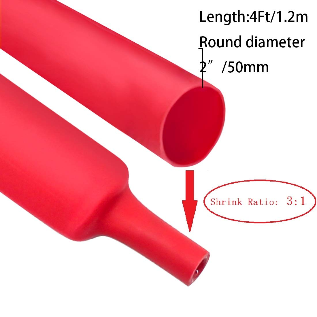 Dual Wall Heat Shrink Tubing 3:1 Ratio Heat Activated Adhesive Glue Lined Marine Shrink Tube Wire Sleeving Wrap Protector Black 5Ft Dia 0.31 7.9mm