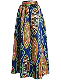 Lovezesent Women's African Printed Pleated Maxi Skirt...