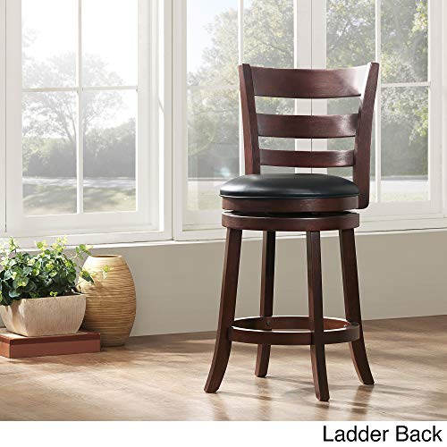 Inspire Q Verona Cherry Swivel 24-inch High Back Counter Height Stool by Classic Black Ladder ()