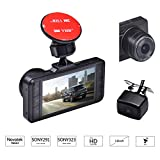 TEQStone Car Dash Cam Dual 1080P FHD Camera with GPS G-Sensor WDR Night Vision
