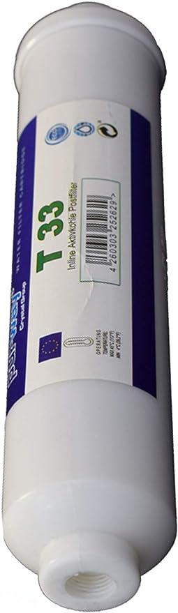 2 filtri T33 carbone attivo argentizzato per depuratore acqua osmosi inversa