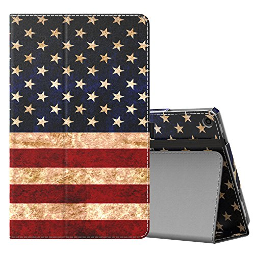 MoKo Case for All-New Amazon Fire HD 10 Tablet (7th Generation, 2017 Release) - Slim Folding Stand Cover with Auto Wake / Sleep for Fire HD 10.1 Inch Tablet, US Flag