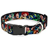 Buckle Down Plastic Clip Collar - Toy Story Characters Running2 Denim Rays - 1.5'' Wide - Fits 16-23 Neck - Medium