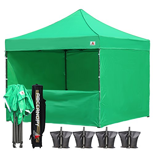 ABCCANOPY Commercial 10x10 Instant Canopy Craft Display Tent Portable Booth Market Stall with Wheeled Carry Bag & Full Walls, Bonus 4x Weight Bag & 10ft Screen Wall & 10ft Half Wall (kelly green)