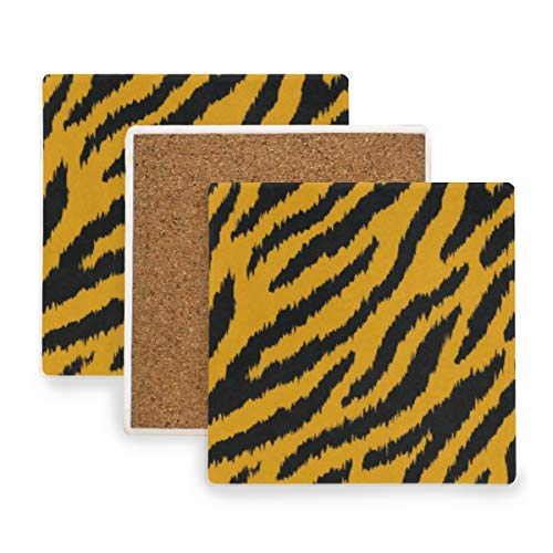 Tiger Stripe Coasters, Protection for Granite, Glass, Soapstone, Sandstone, Marble, Stone Table - Perfect Cork Coasters,Square Cup Mat Pad for Home, Kitchen or Bar Set of 2