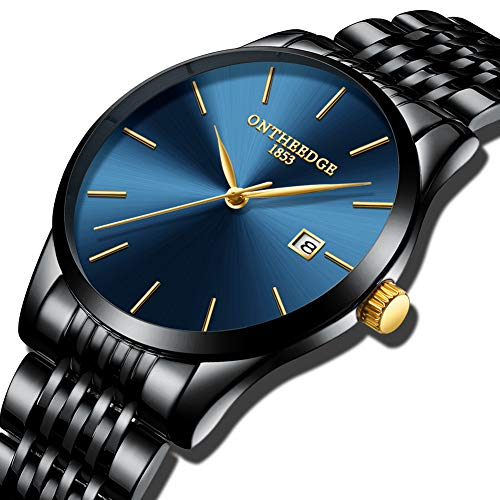 Men Watch, MINIFOCUS Chronograph Waterproof Sport Analog Quartz Watches Blue Silicon Strap Fashion Wristwatch for Men(Extra Battery) ...