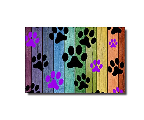 Colorful Puppy Paws Decorative Doormats Non-Skid Slip Rubber