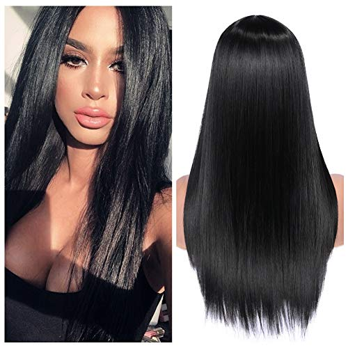Straight Black Wig (Quantum Love Wigs Long Natural Straight Middle Part Natural Black Color Wig Heat Resistant Realistic Synthetic Daily Party Wig for)