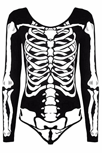 Rimi Hanger Womens Long Sleeves Halloween Costume Skeleton Printed Leotard Bodysuit Top (Medium, Black Skeleton Bodysuit)