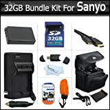 32GB Bundle Kit For Sanyo VPC-WH1 High Definition Waterproof Camcorder Includes 32GB High Speed SD Memory Card + Extended (1850Mah) Replacement Sanyo DB-L50AU Battery + AC/DC Charger + Mini HDMI Cable + Float Strap + Case + USB 2.0 SD Card Reader + More