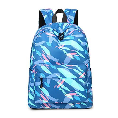 Joymoze Modischer Freizeitrucksack für Mädchen Jugendliche Schulrucksack Frauen Aufdruck Rucksack Geldbeutel Blau 851