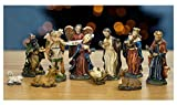 Nativity Set - Set of 11 Nativity Figurines - Baby Jesus, Mary, Joseph, Shepherd, 3 Kings, Angel, Cow, Donkey and Sheep - 7/8'' to 2-3/4''H