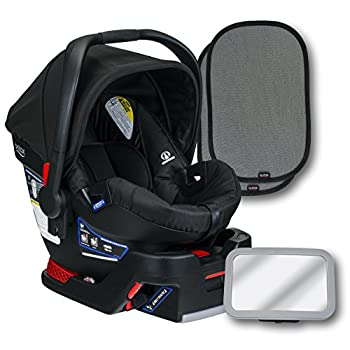 Image of Baby Britax B-Safe 35 Infant Car Seat, Raven, Back Seat Mirror, and 2 EZ-Cling Window Sun Shades