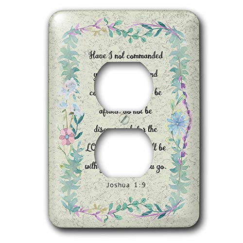 3dRose Made in the Highlands - Art- Joshua 1 Inspirational bible quote - Bible quote from Joshua on graphic background - 2 plug outlet cover (lsp_304467_6)