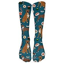 Unisex Boxer Dog Sushi Cute Pattern Novelty Premium Calf High Athletic Socks Fashional Tube Stockings Size 6-10