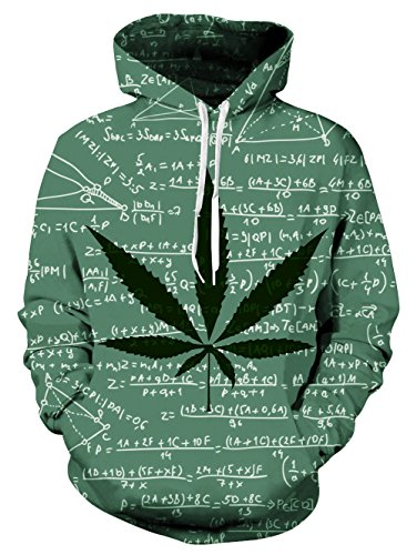 ed Leaf Hoodie Formula Design Printed Fleece Pullover Hoodies Sweatshirt for Teen Boys Girls M ()