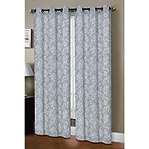 Window Elements Dover Linen Blend Grommet Curtain Panel Pair, 76 in. x 96 in. Grey