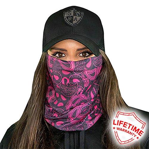 SA Company Face Mask Shield Protective Balaclava Bandana Microfiber Tube Neck Warmer - Pink Paisley