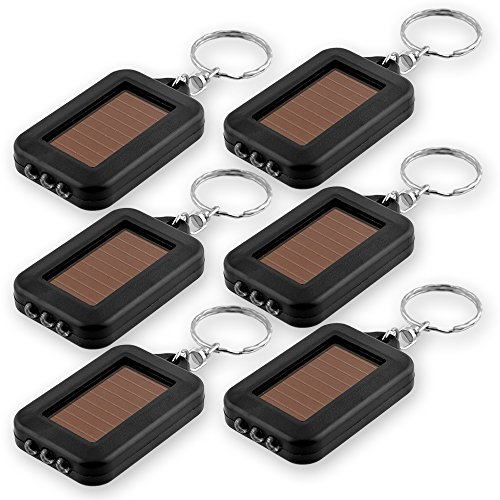 EcoGear FX LED Keychain Flashlight - 6 Pack Mini Keychain Flashlight, Solar Powered Keychain Light Key Ring (Black) - Makes a Great - Solar Keychain Power