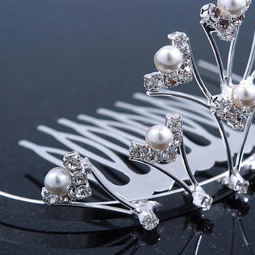 75 mm Lgking supply Tiare pour mariage//f/ête Blanc rhodi/é et perle imitation perle de Swarovski Crystal Mini Peigne /à cheveux diad/ème