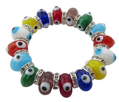 Evil Eye Stretch Charm Bracelet with Multicolor Murano Glass Beads and Zircon Crystals