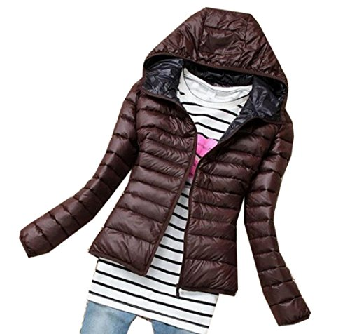 Short Women's Slim Quilted Jacket Khaki M Down Hoodie Coats EKU Solid SwHPqF