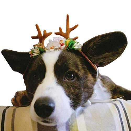 Leoie Stylish Pet Headgear Christmas Elk Antler Shape Headwear Pets Hats for Pets Supplies S]()