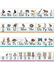 Alphabet Bulletin Board Set Manuscript ABC Number Line Wall Decorations for Pre School, Kindergarten Classroom Playroom Bedroom Nursery Decorations for Children Kids Teens Including Numbers 0-10