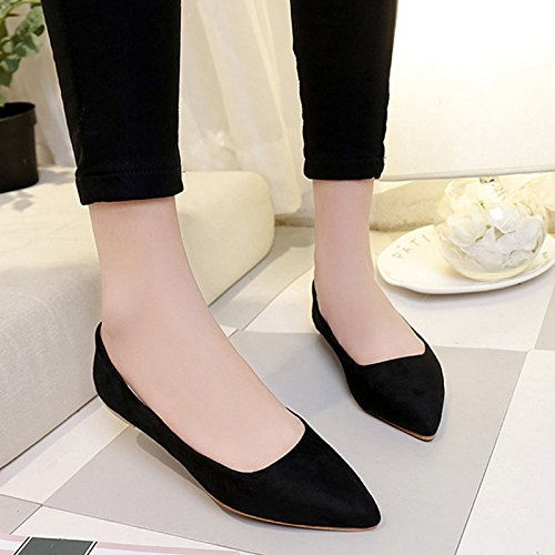 Simple Pretty Shoes Flat Loafers for Women Girls Black02 gKNzYrw