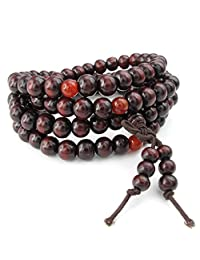 Konov Jewelry Wood Mens Womens Bracelet, 8mm Tibetan Buddhist Sandalwood Beads Prayer Mala, Yoga Necklace, Red, with Gift Bag, C24341