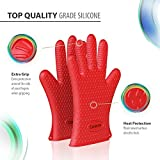 Corsicca Pot Oven BBQ Grilling Silicone Gloves Heat Resistant Mitts - Red (Lifetime Warranty)