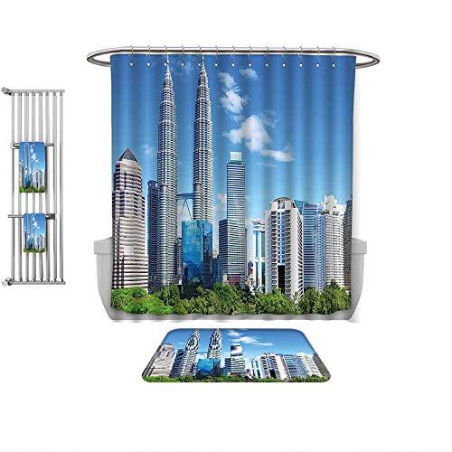 - QINYAN-Home Print Bathroom Rugs Shower Curtain Urban Malaysian Kuala Lumpur Skyline Skyscrapers Capital City Corporate Panorama Sky Blue Light Grey, Rug& Shower Curtain Bath Towel-Multiple Sizes