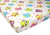 Pack N Play Playard Sheet 100% Premium Cotton Flannel,Super SOFT, Fits Perfectly Any Standard Playard Mattress up to 3'' Thick, OWL
