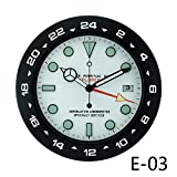 The clock room watch luminous watch round clock creative mute simple European style and modern personality clock,14 inches,Black white Green