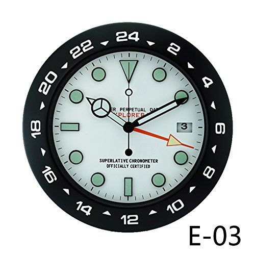 The clock room watch luminous watch round clock creative mute simple European style and modern personality clock,14 inches,Black white Green by JRZSNLJY