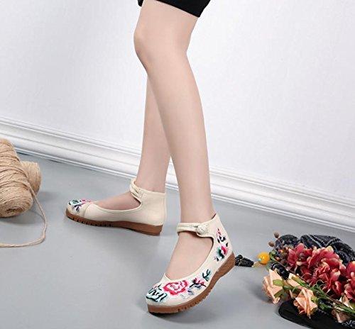 Stile All'interno Dell'aumento Scarpe Comodo Etnico White Moda Da Suola A Casual Donna Meters Tendina Ricamate Ming qXnOwd7X