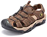 ODOUK Mens Closed Toe Hiking Sandals Water Beach Shoes for Traveling Walking Mountain Trail(Brown-a,6.5 M US)